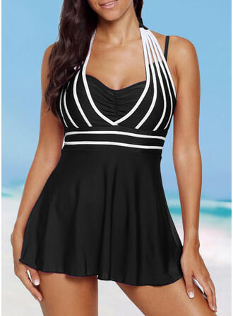 Solid Color Halter Sports Vintage Plus Size Swimdresses Swimsuits