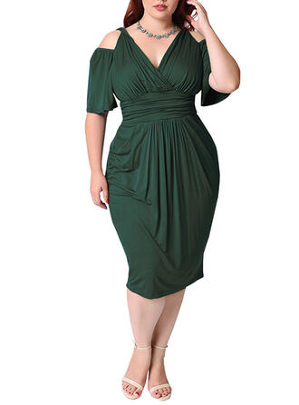 Plus Size Solid 1/2 Sleeves Bodycon Midi Elegant Dress