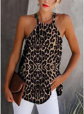 Animal Print Round Neck Sleeveless Casual Tank Tops