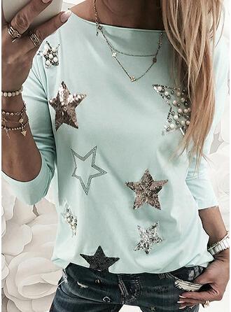 Wysadzana perełkami cekiny Okrągły dekolt Długie rękawy T-shirty
