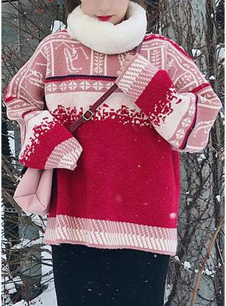 Coton Col rond Inmprimé Patchwork Gros tricot Chandail de Noël moche