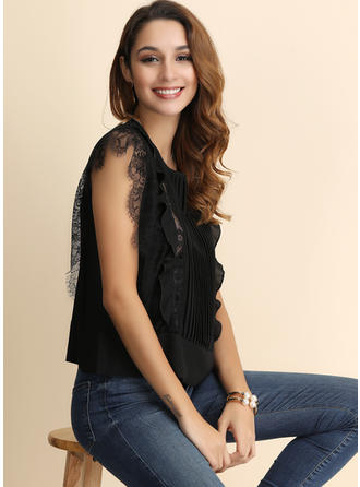 Solid Lace Round Neck Short Sleeves Casual Elegant Ruffle Blouses