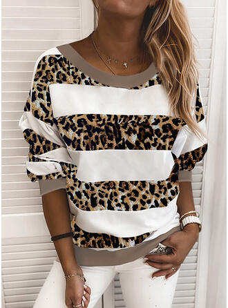 Patchwork Leopard Round Neck Long Sleeves Sweatshirt