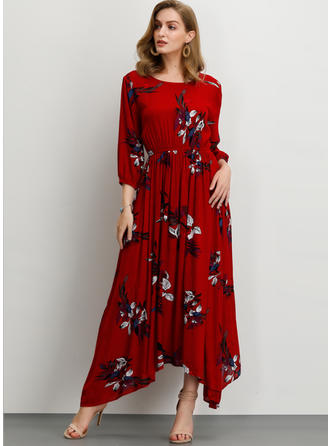 Print/Floral 3/4 Sleeves A-line Asymmetrical Casual Dresses