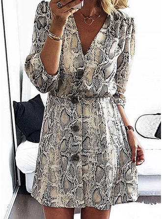 Animal Print Long Sleeves A-line Above Knee Casual Dresses