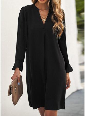 Couleur Unie Manches Longues Coupe droite Au-dessus Du Genou Petites Robes Noires/Décontractée Tunique Robes