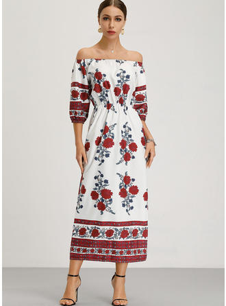 Print/Floral 1/2 Sleeves/Long Sleeves Shift Maxi Boho/Vacation Dresses