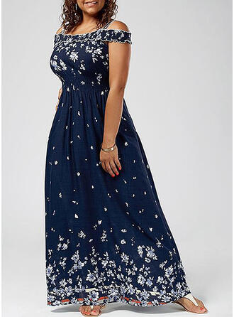 Print/Floral Short Sleeves/Cold Shoulder Sleeve A-line Casual/Elegant/Plus Size Maxi Dresses
