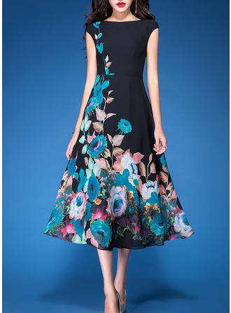 Print/Floral Sleeveless A-line Casual/Elegant Midi Dresses