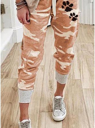 Estampado de animales Camuflaje Cordón Casual Deportivo Pantalones Pantalones de salón