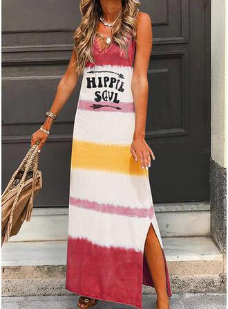 Print/Color Block Sleeveless Shift Casual/Vacation Maxi Dresses