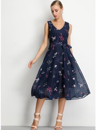 Print/Floral Sleeveless A-line Midi Casual/Boho Dresses