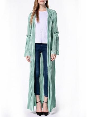 Solid Beading V-neck Maxi A-line Dress
