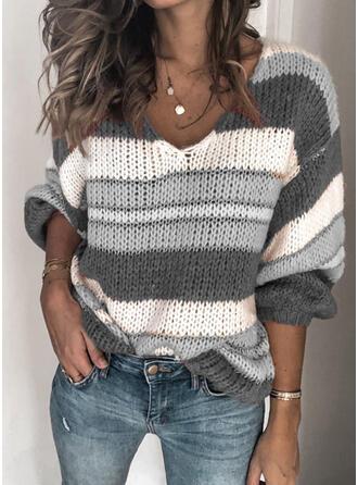 Gestreift Grobstrick V-Ausschnitt Pullover