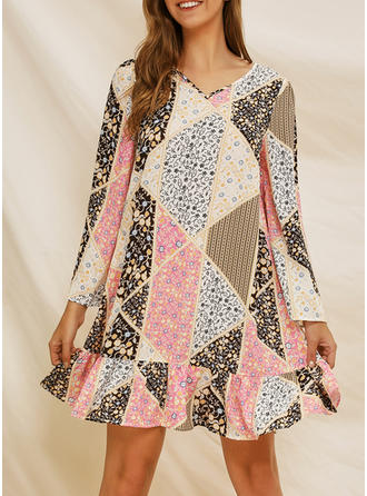 Patchwork Long Sleeves Shift Above Knee Casual Dresses