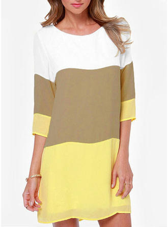 Chiffon Round Neck Color Block 1/2 Sleeves Casual Blouses