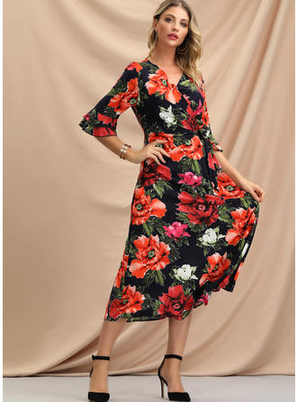 Print/Floral 1/2 Sleeves/Flare Sleeves A-line Midi Casual/Vacation Dresses