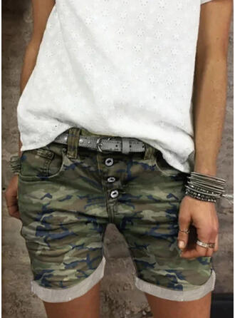 Camouflage Cotton Above Knee Casual Vintage Plus Size Pocket Shirred Button Pants Shorts