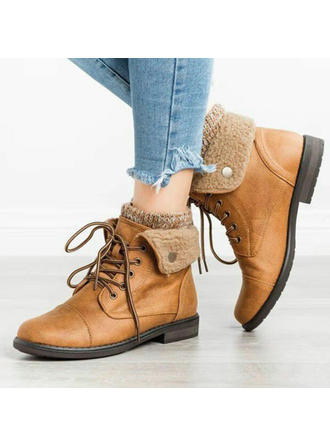 Women's PU Low Heel Snow Boots Martin Boots With Lace-up shoes