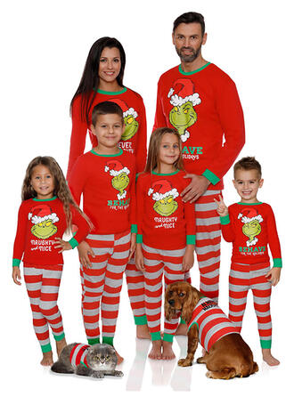 Letter Striped Cartoon Family Matching Christmas Pajamas