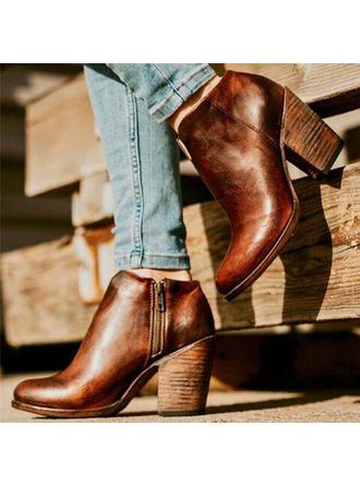 Női PU Chunky sarok Csizma -Val Cipzár cipő