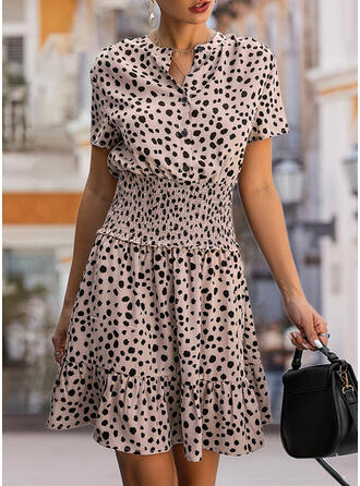 Print Short Sleeves A-line Above Knee Casual/Elegant Dresses