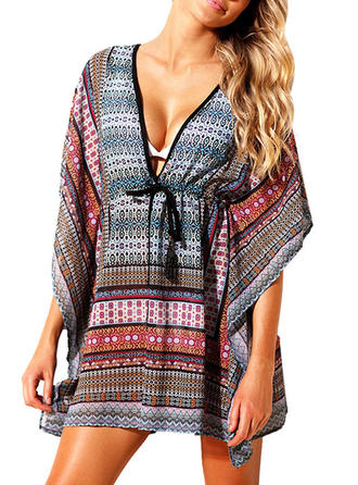 Colorful V-neck Cover-ups Swimsuit