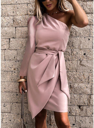 Solid Long Sleeves Bodycon Above Knee Sexy/Party Dresses
