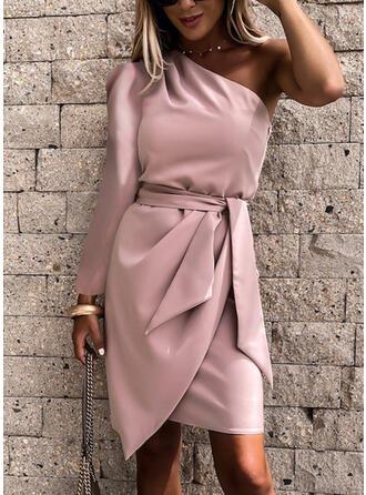 Jednolita Długie rękawy Bodycon Nad kolana Seksowna/Przyjęcie Sukienki