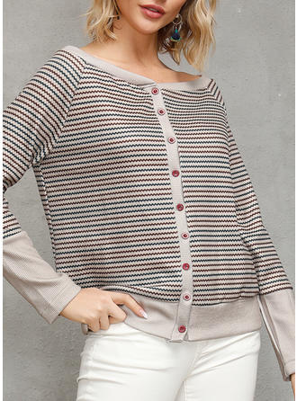 Striped Round Neck Long Sleeves Button Up Casual Knit Blouses