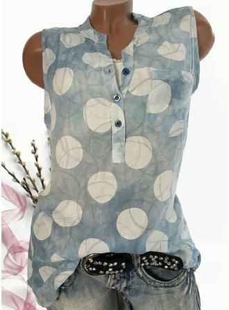 Print V-Neck Sleeveless Button Up Casual Blouses