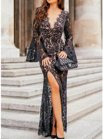 Lace/Solid Long Sleeves/Flare Sleeves Sheath Maxi Sexy/Party Dresses
