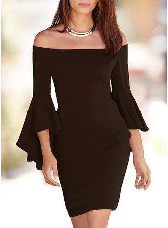 Solid Flare Sleeves Bodycon Above Knee Party/Elegant Dresses