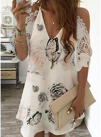 Lace/Print/Floral 3/4 Sleeves/Cold Shoulder Sleeve Shift Above Knee Casual/Elegant Dresses