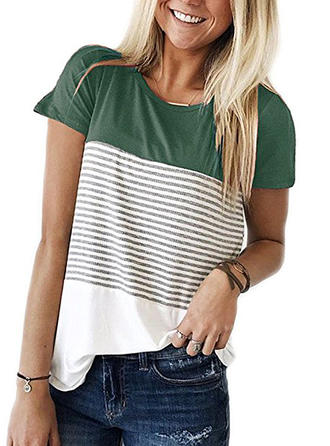Cotton Polyester Round Neck Print Short Sleeves Casual Blouses