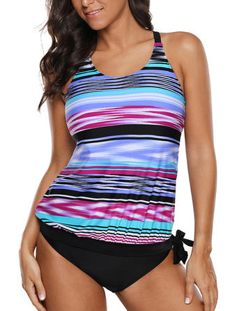 Stripe Underwire Strap Sexy Plus Size Tankinis Swimsuits