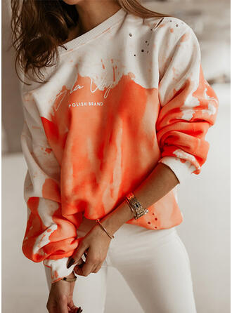 Print Tie Dye Letter Round Neck Long Sleeves Sweatshirt