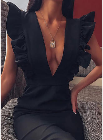 Solid Cap Sleeve Bodycon Knee Length Little Black/Party Dresses