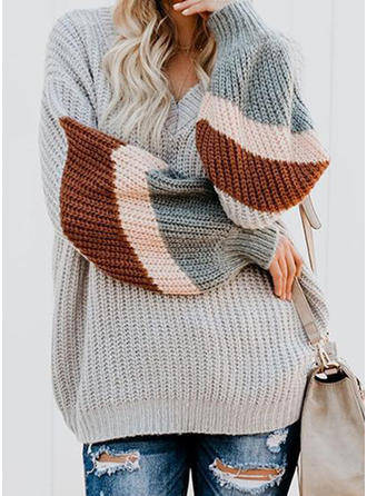 Striped Ribbed V neck Sweaters