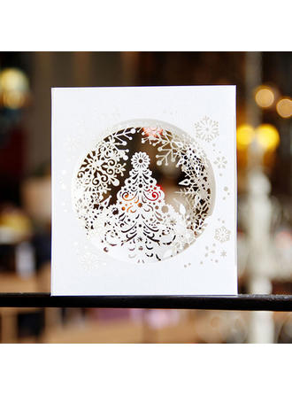 Merry Christmas 3D With Envelope Card Paper Greeting Cards Postcards Invitations Snowflake