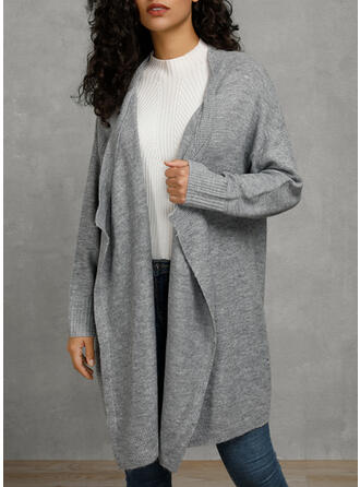 Solid Collarless Asymmetrical Cardigan