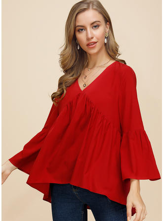 Solid V-neck Flare Sleeve Long Sleeves Casual Elegant Blouses
