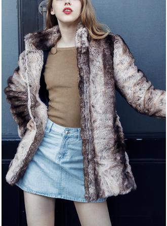 Pelliccia ecologica Maniche lunghe Stampa Cappotto di pelliccia sintetica