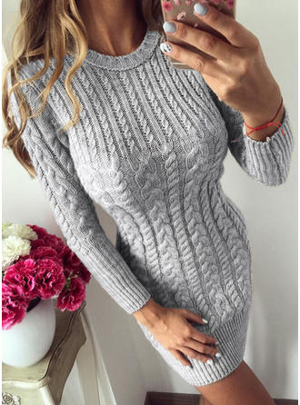 Solid Cable-knit Round Neck Sweater Dress