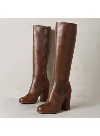 Femmes Similicuir Talon bottier Bottes Bottes hautes avec Zip chaussures