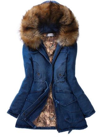 Denim Cotton Long Sleeves Plain Denim Coats