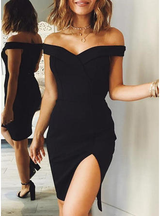 Solid Cap Sleeve Sheath Above Knee Little Black/Party Dresses