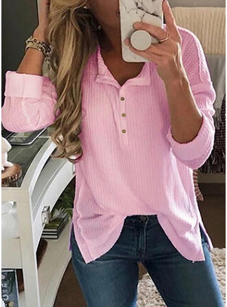 Plain V Neck Long Sleeves Button Up Casual Blouses