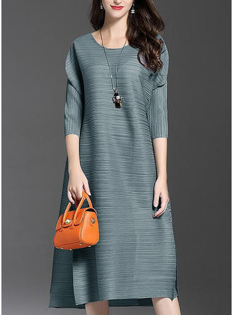 Solid 1/2 Sleeves Shift Knee Length Casual/Elegant Dresses