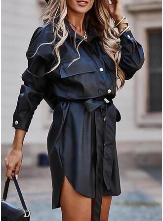Sólido Manga Larga Cubierta Sobre la Rodilla Pequeños Negros/Casual Camisa Vestidos